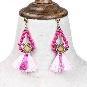 Pink or Blue/green bead/tassel earrings